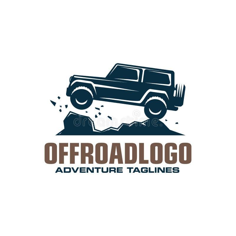 Logotipo campo a través del coche, suv del safari, offroader de la expedición ilustración del vector