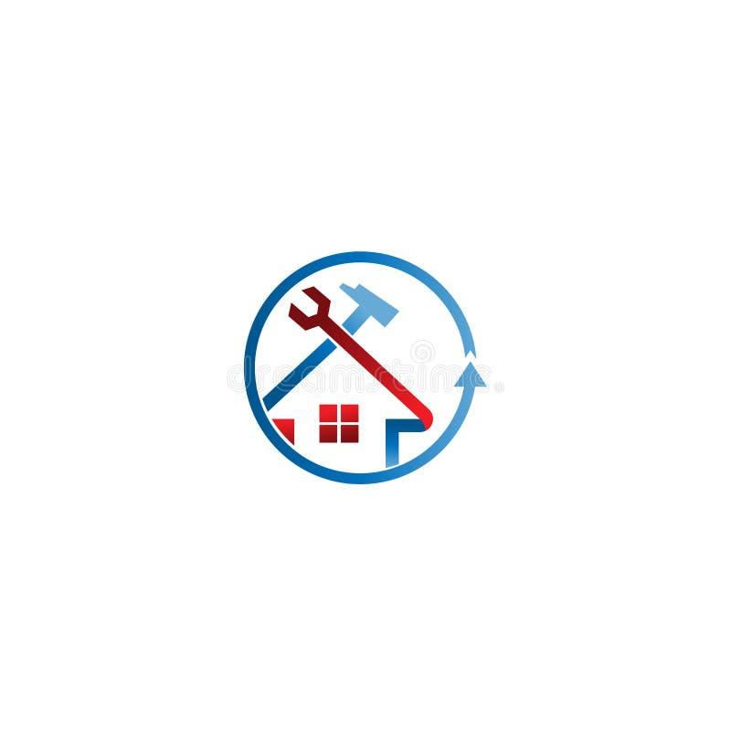 Logotipo casero circular de la reparación, servicio casero Logo Template Logotipo casero abstracto del servicio stock de ilustración