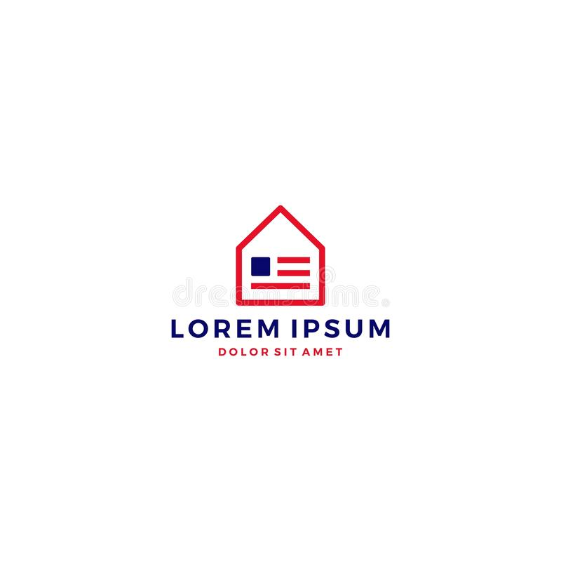 logotipo casero de la bandera americana de la casa de los E.E.U.U. stock de ilustración