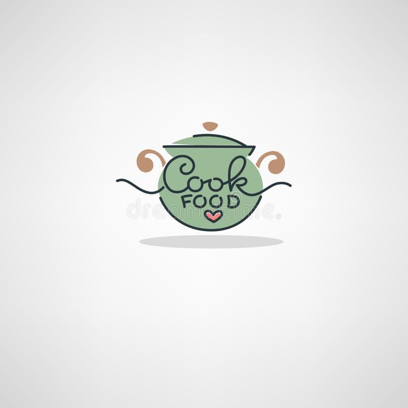Logotipo casero de la comida, imagen de cocinar el pote stock de ilustración