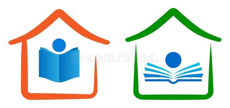 Logotipo casero de la educación ilustración del vector