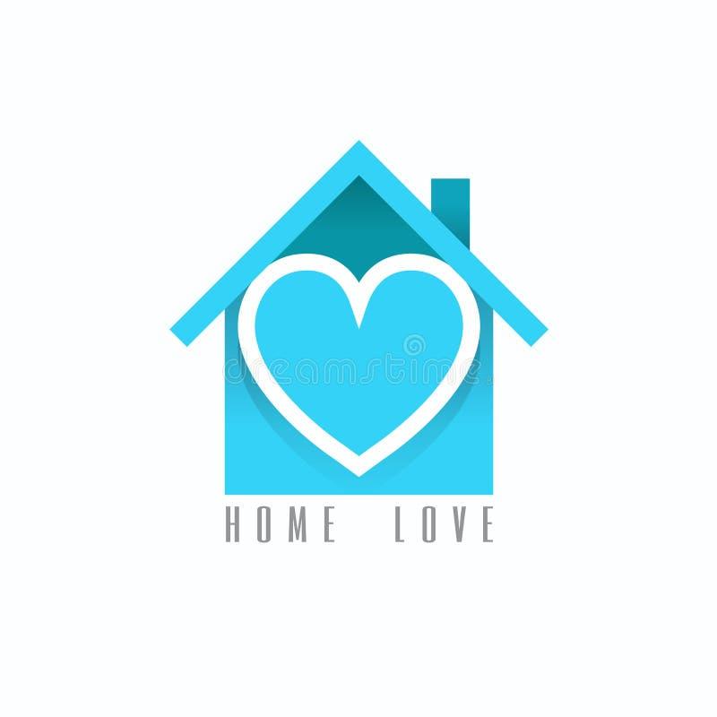 Logotipo casero del amor Ilustración del vector en el fondo blanco stock de ilustración