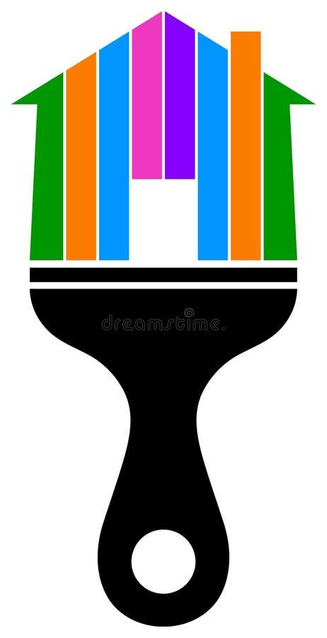Logotipo casero del cepillo de pintura stock de ilustración