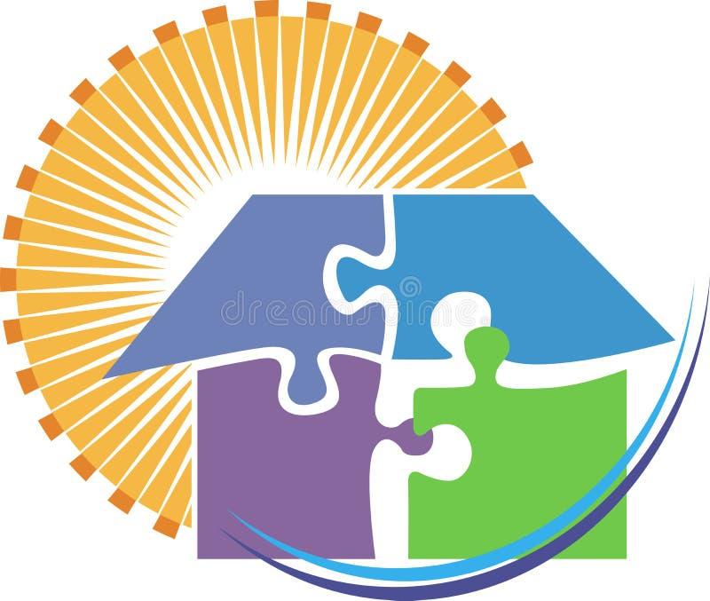 Logotipo casero del rompecabezas stock de ilustración