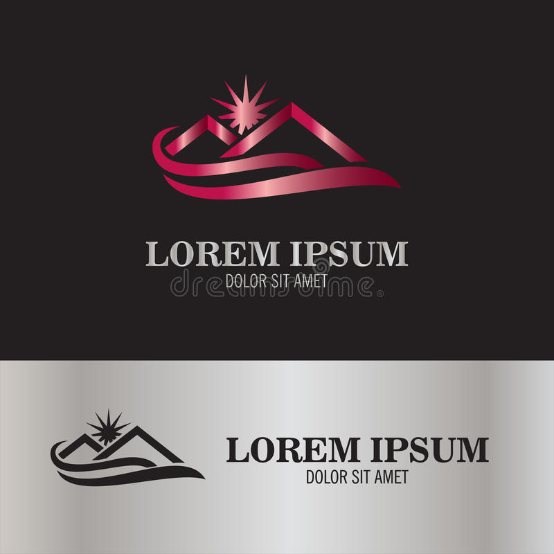 Logotipo casero del sol y de la onda ilustración del vector