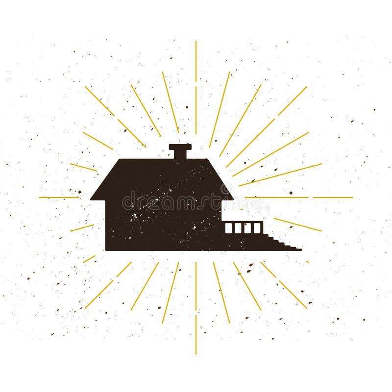 Logotipo casero retro de la silueta ilustración del vector