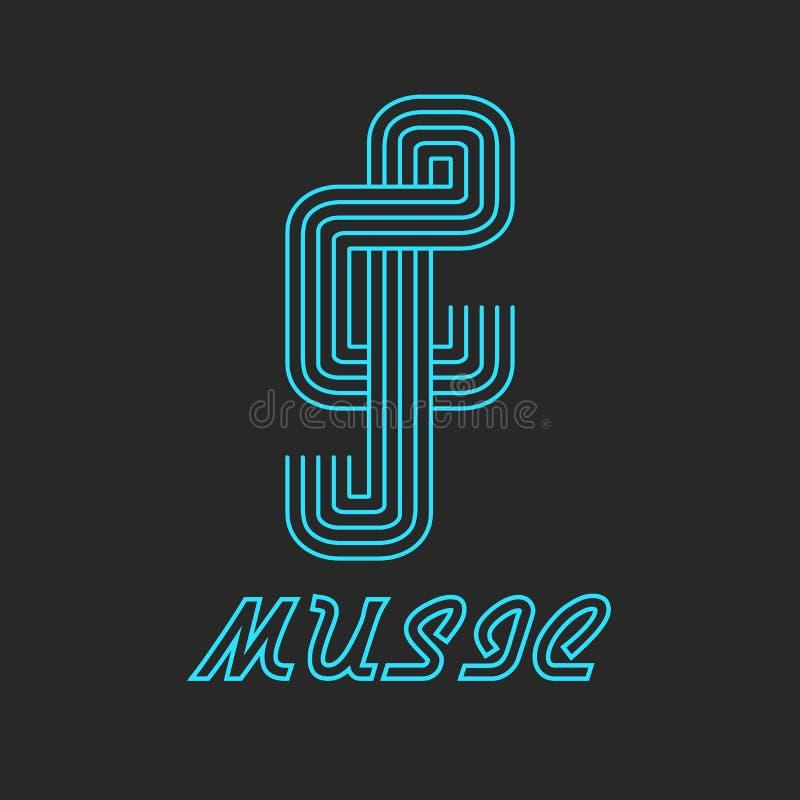 Logotipo chave da música da linha de néon, ícone azul musical ilustração royalty free