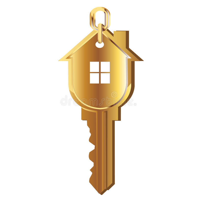Logotipo chave do ouro da casa ilustração do vetor