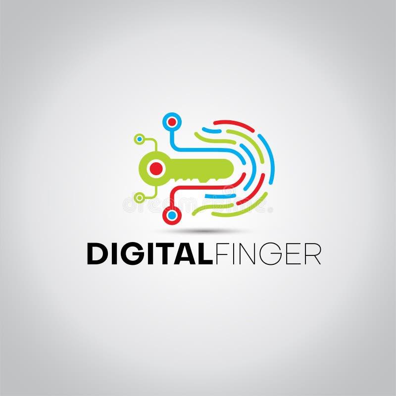 Logotipo chave dos dados da impressão digital ilustração royalty free