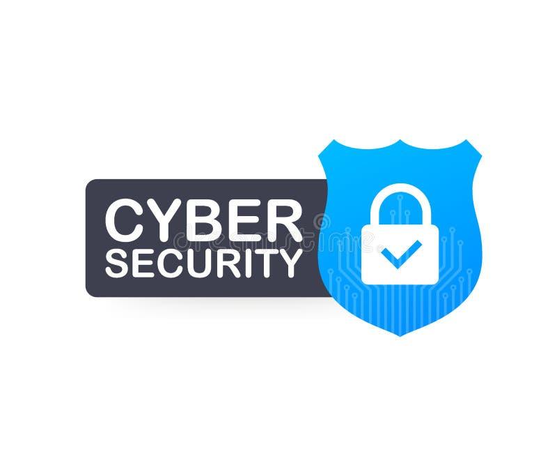Logotipo cibern?tico del vector de la seguridad con el escudo y la marca de verificaci?n Concepto del escudo de la seguridad Segu ilustración del vector