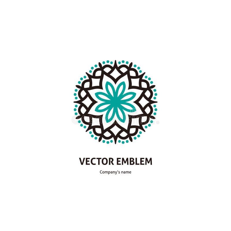 Logotipo circular bonito azul delicado para o boutique Botão grande do caleidoscópio Flor abstrata da bordadura imagens de stock royalty free