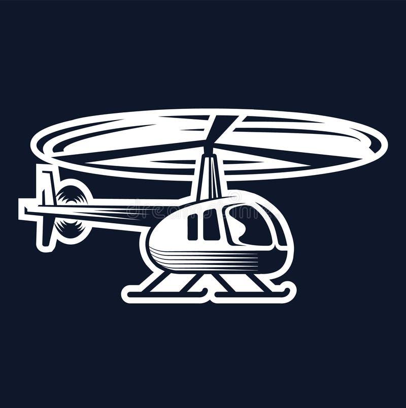 Logotipo civil do helicóptero, projeto do emblema ilustração do vetor