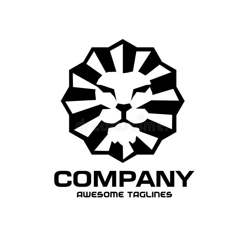 Logotipo clássico principal do estilo do vintage do leão ilustração do vetor