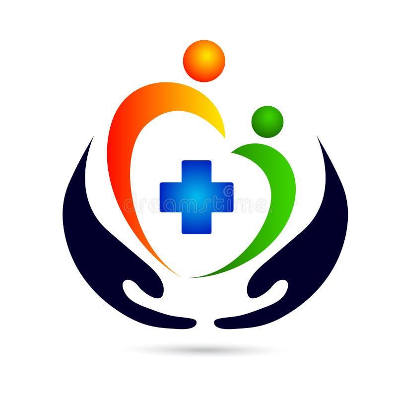 Logotipo clínico médico do cuidado do logotipo do cuidado ilustração do vetor