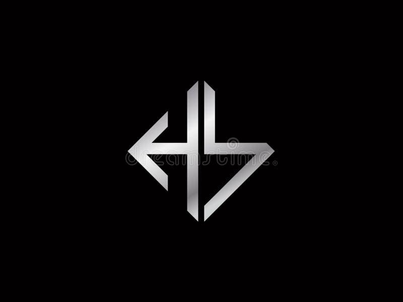 Logotipo color plata de la forma del cuadrado del HS stock de ilustración