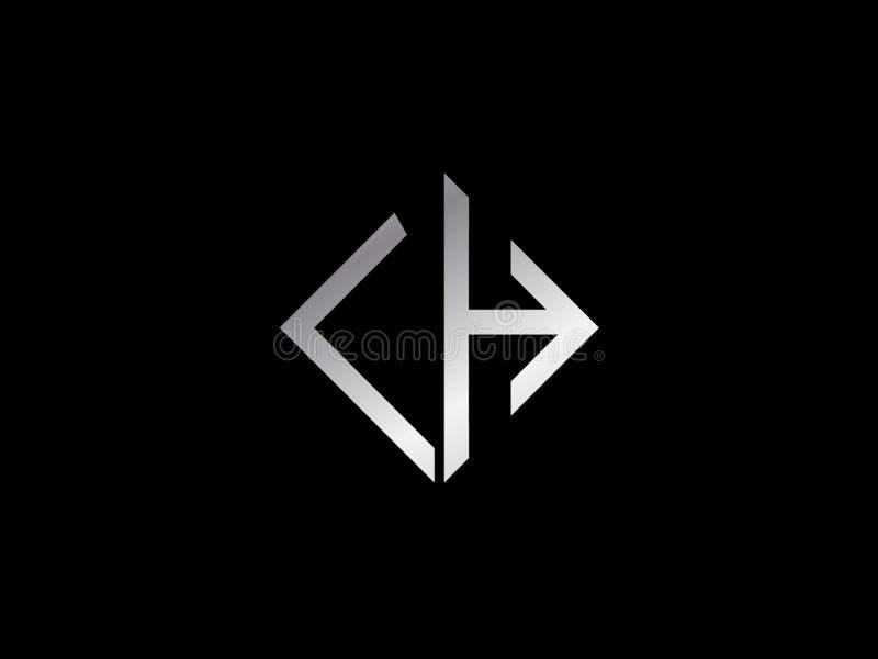 Logotipo color plata de la forma del cuadrado de la LH ilustración del vector