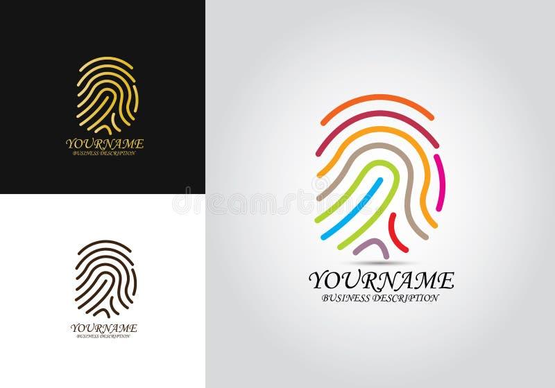 Logotipo coloreado huella dactilar stock de ilustración