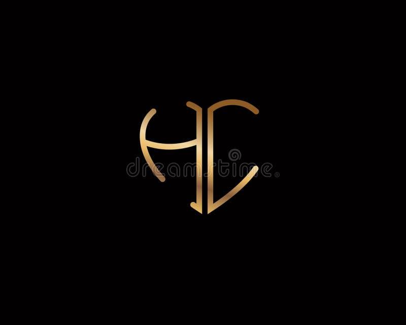 Logotipo coloreado oro inicial de la forma del corazón de HC ilustración del vector