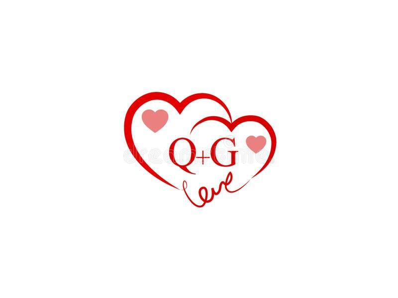 Logotipo coloreado rojo de la forma inicial del corazón de QG libre illustration