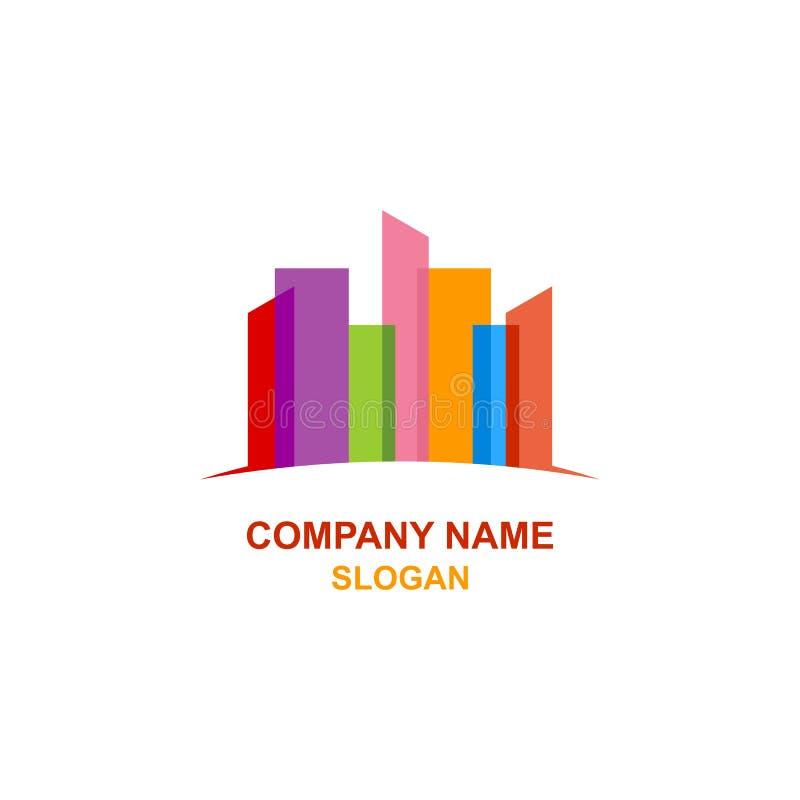 Logotipo colorido abstracto del edificio del paisaje urbano ilustración del vector