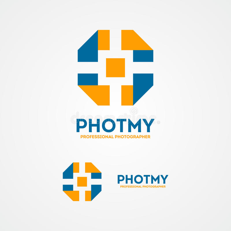 Logotipo colorido abstracto del obturador de cámara stock de ilustración