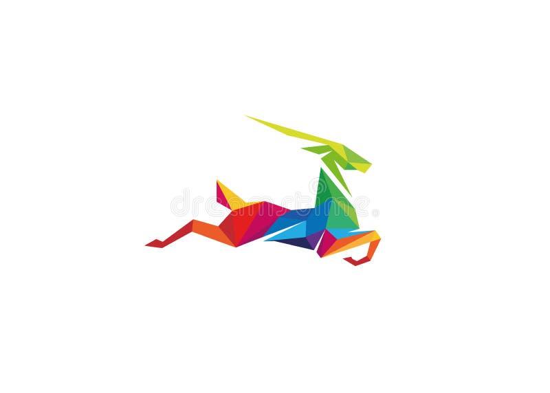 Logotipo colorido criativo da gazela ilustração stock