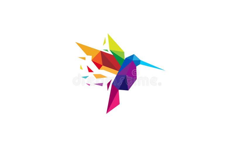 Logotipo colorido criativo do pássaro do zumbido ilustração royalty free