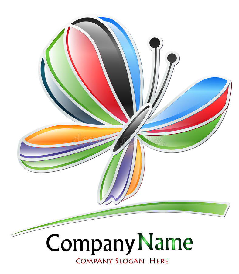 Logotipo colorido da companhia da borboleta ilustração royalty free