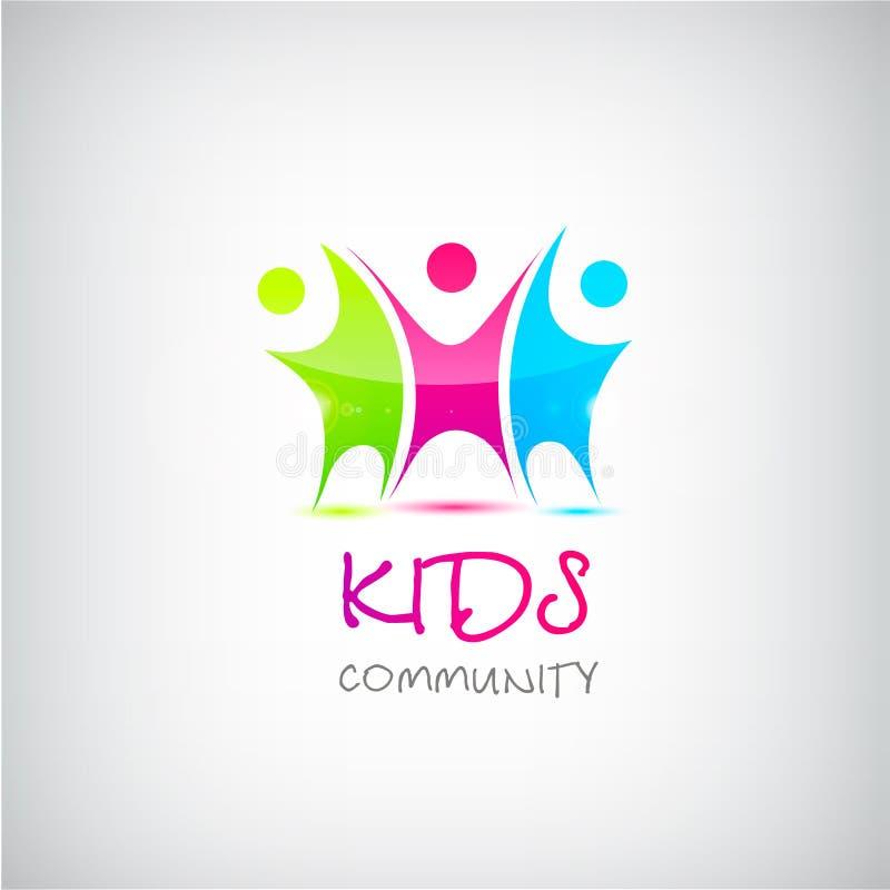 Logotipo colorido das crianças do vetor, crianças ilustração royalty free