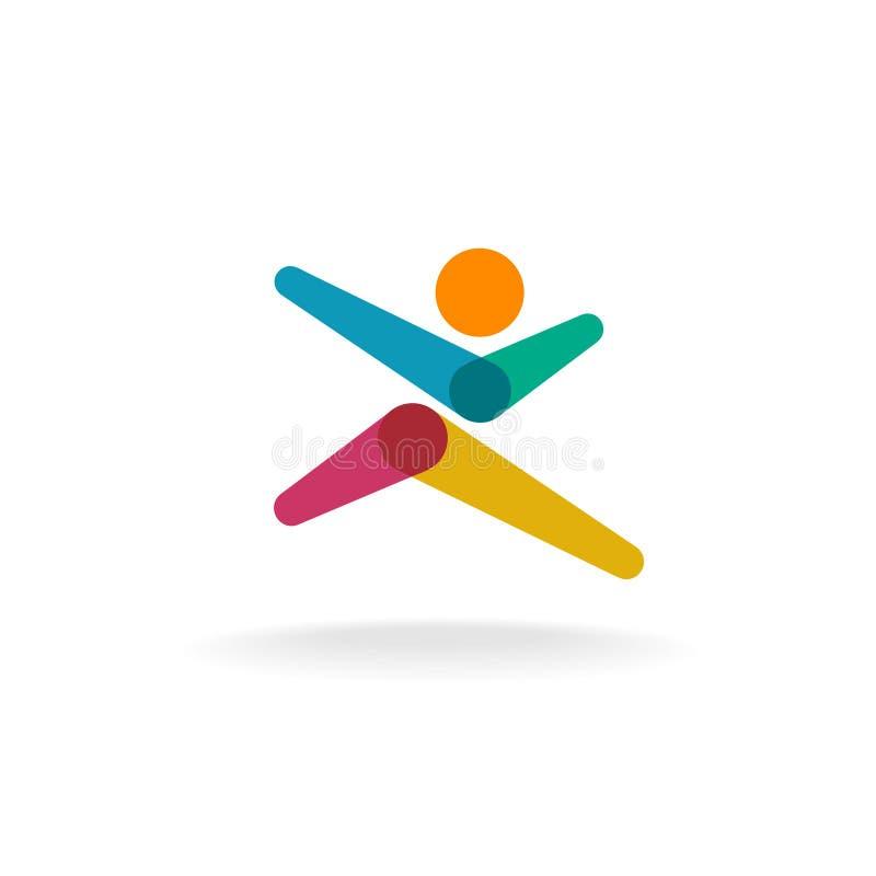 Logotipo colorido de la capa del hombre corriente stock de ilustración
