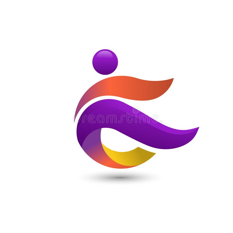 Logotipo colorido de la gente, concepto del logotipo de la aptitud del coche libre illustration