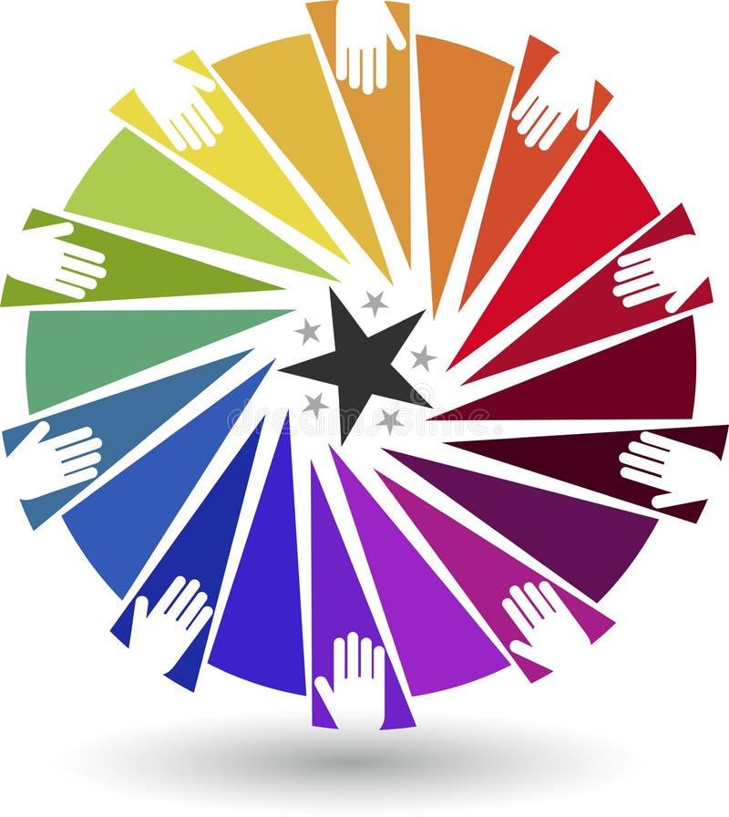 Logotipo colorido de las manos ilustración del vector