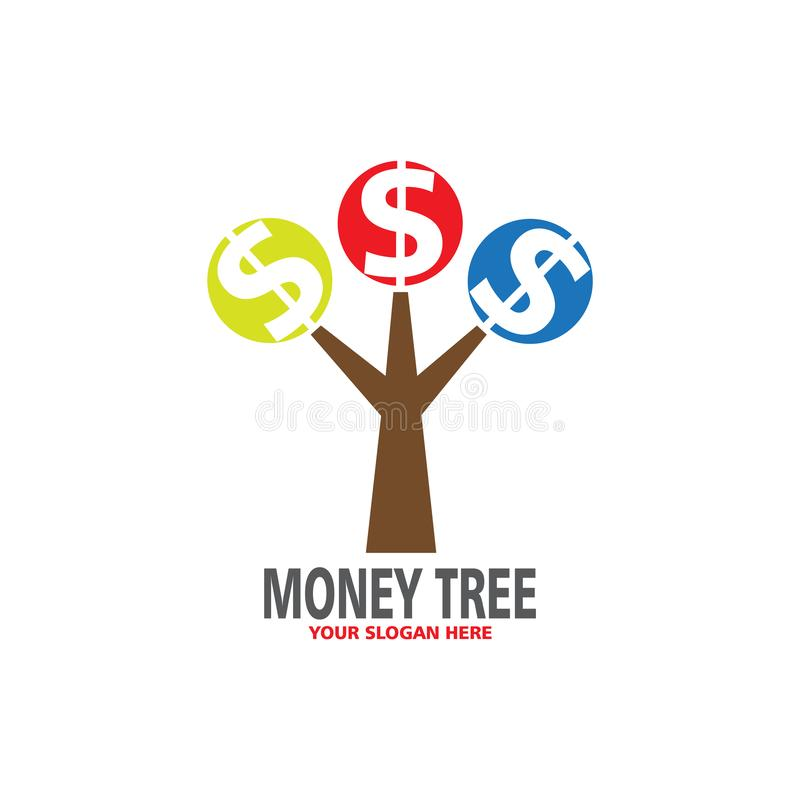 Logotipo colorido del árbol del dinero ilustración del vector