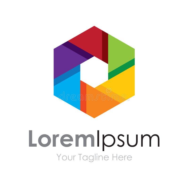 Logotipo colorido del icono de los elementos del concepto de la lente del foco de la cámara de la visión imagenes de archivo