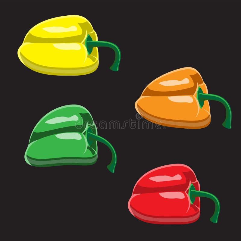 Logotipo colorido del icono del paprika Rojo, verde, naranja, paprika dulce amarilla en un ejemplo negro del diseño del vector de libre illustration