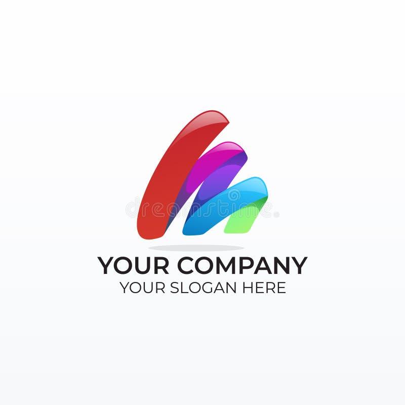 Logotipo colorido del negocio de la letra m ilustración del vector