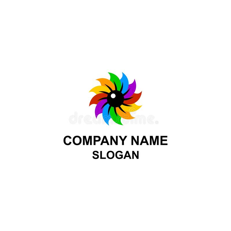 Logotipo colorido del ojo de la forma de hoja ilustración del vector