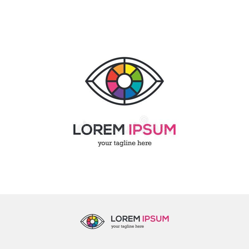 Logotipo colorido del ojo que parece una rueda de color stock de ilustración