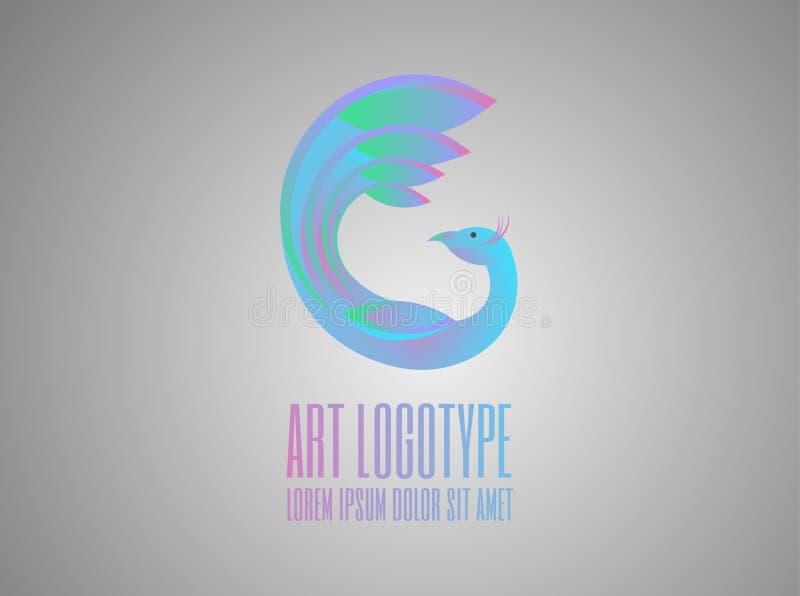 ¡Logotipo colorido del pavo real! stock de ilustración