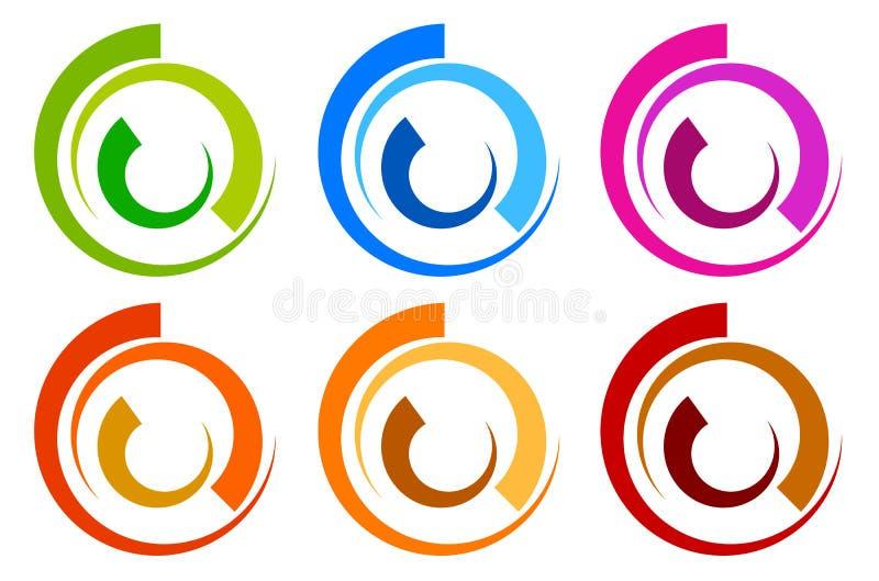 Logotipo colorido do círculo, moldes do ícone circl segmentado concêntrico ilustração stock