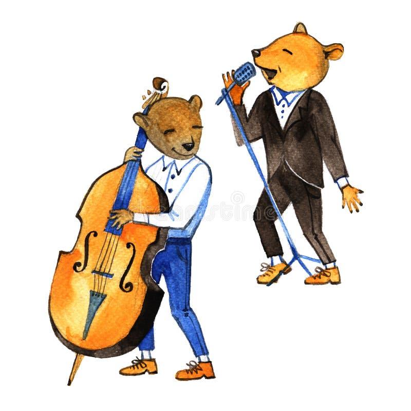 Logotipo colorido do festival de música das crianças Urso de peluche, notas, clave de sol, clave baixa, rotulação colorida ilustração stock