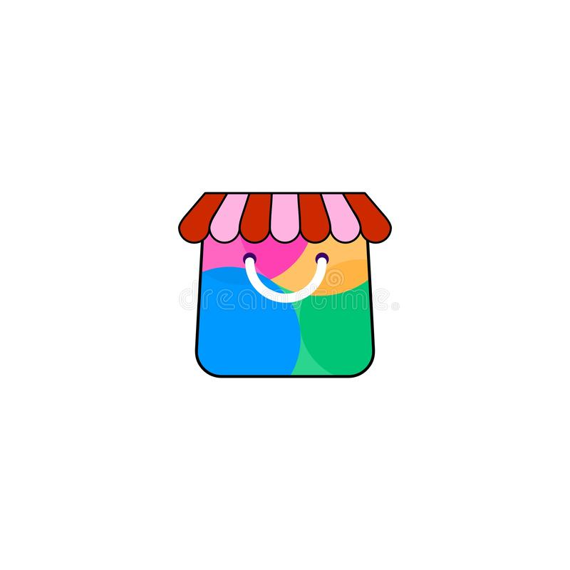 Logotipo colorido do mercado do saco de compras ilustração stock