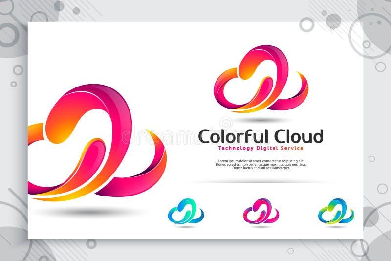 logotipo colorido do vetor da nuvem 3d com conceito e projeto modernos da cor, ilustração abstrata da nuvem como a da tecnologia  ilustração stock