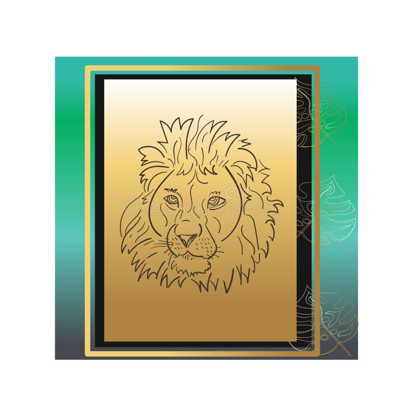 Logotipo colorido do vetor do rugido do leão para o t-shirt que pinta a pintura abstrata da liberdade vibrante moderna ilustração do vetor