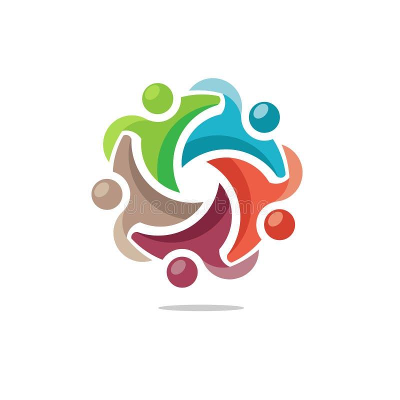 Logotipo colorido dos povos da comunidade ilustração stock
