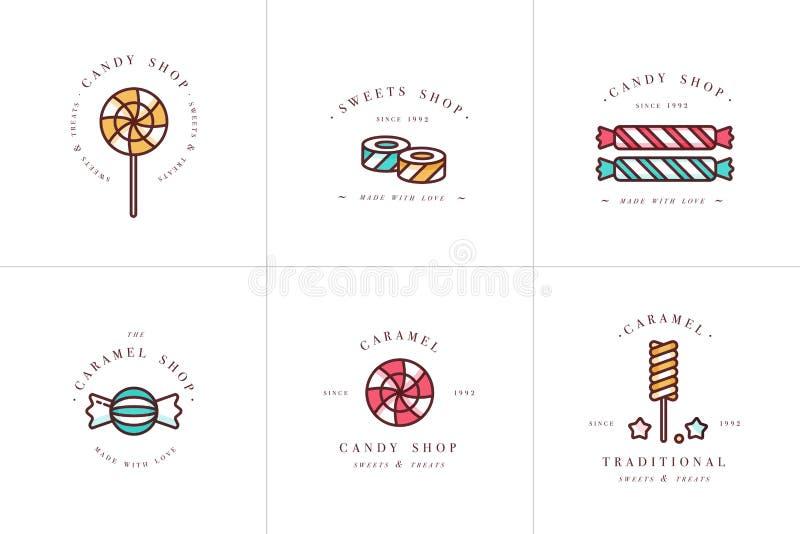 Logotipo colorido e emblemas dos moldes da cenografia do vetor - os pirulitos com polvilham doces do caramelo Ícone diferente dos ilustração do vetor