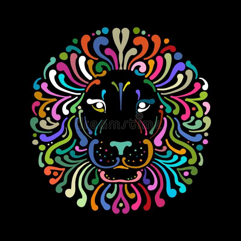 Logotipo colorido, esboço da cara do leão para seu projeto ilustração royalty free