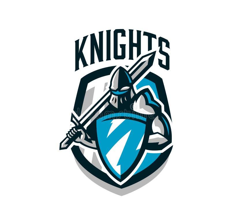 Logotipo colorido, etiqueta, emblema do cavaleiro na armadura do ferro Cavaleiro da Idade Média, protetor, guerreiro, espadachim imagens de stock
