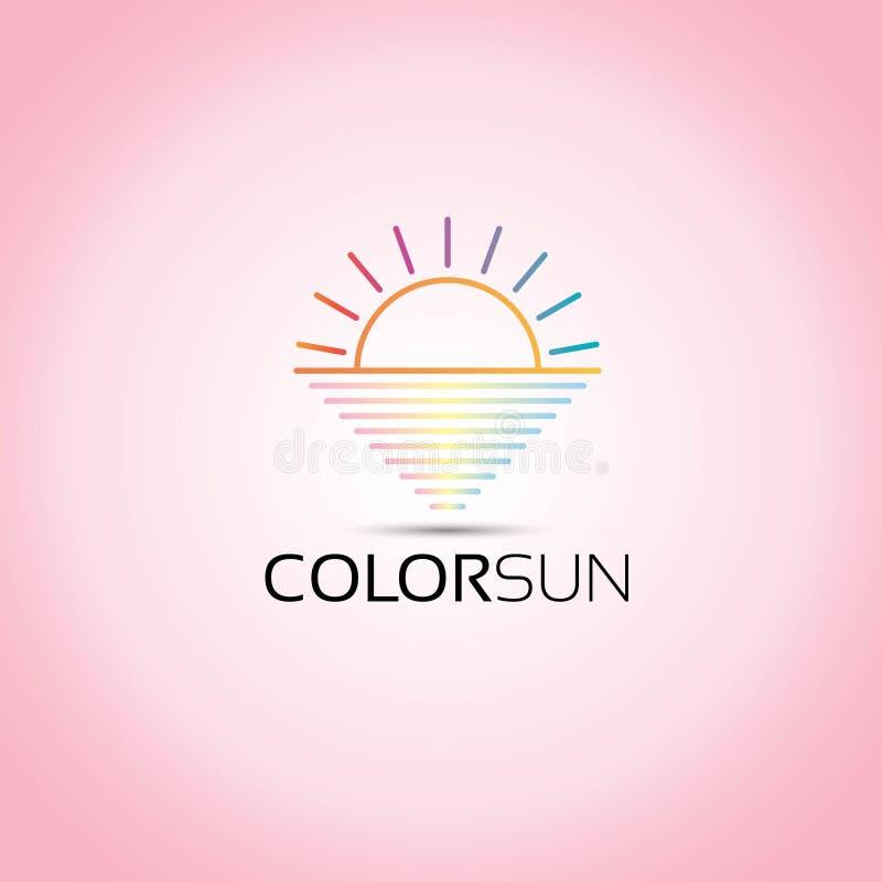 Logotipo colorido mar do vetor de Sun ilustração stock