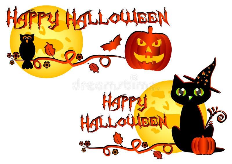 Logotipo colorido para las tarjetas y saludos en el tema de Halloween stock de ilustración